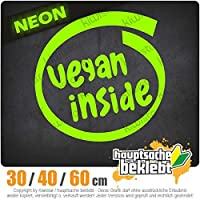 Vegan inside - 3つのサイズで利用できます 15色 - ネオン+クロム! ステッカービニールオートバイ