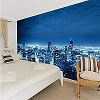 Lcymt 注文の壁画のヨーロッパの都市建物の居間Tvのソファーの背景の壁紙白黒ニューヨーク夜3Dの写真の壁紙-120X100Cm