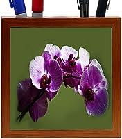 Rikki Knight Purple Orchids Design 5-Inch Wooden Tile Pen Holder (RK-PH3768) [並行輸入品]