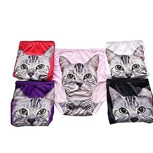 レーディース セクシー レース かわいい 3D猫ちゃん パンツ ショーツ 下着 アンチ露出 安全パンツ フリーサイズ <違う色5枚セット>