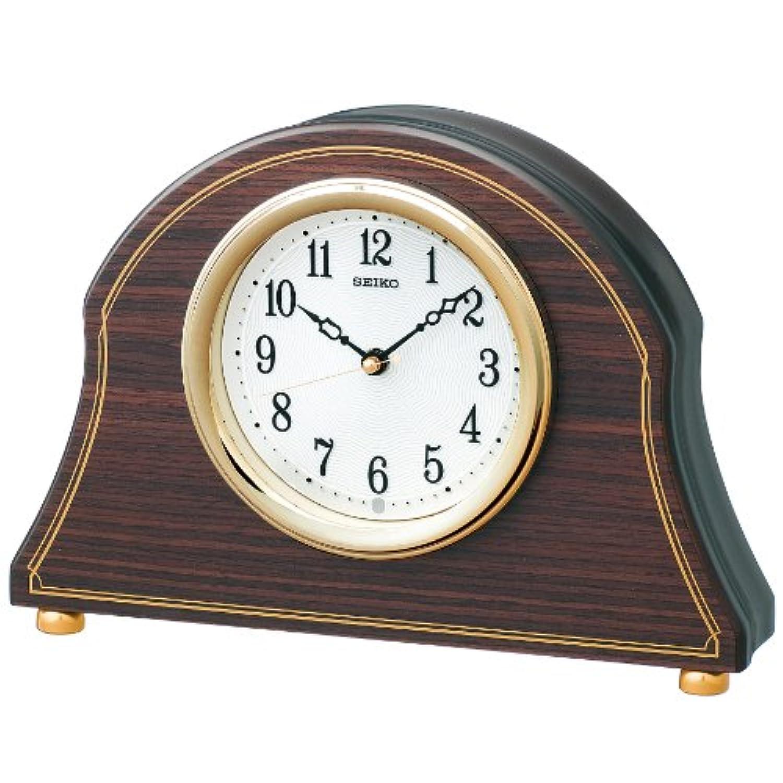 SEIKO CLOCK (セイコークロック) 置き時計 電波 アナログ 木枠 濃茶木目模様 濃茶木地 BZ234B