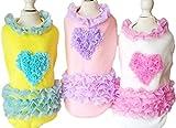 2017 春夏 【JADE Japan】ペット 全3色5サイズ 犬 洋服 ハート柄 フリル タンク タンクトップ Tシャツ XS~XL (M, ブルー)