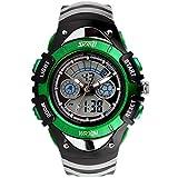 SKMEI 腕時計 キッズ アナデジ表示 日付曜日表示 LED クロノグラフ 防水 スポーツウォッチ グリーン