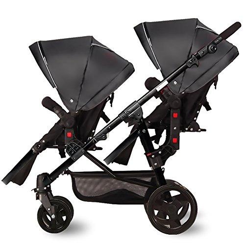Nice Days(ナイス ディズ)  2人乗り ベビーカー 縦型 新生児から使える ソフト 安全 防水 紫外線防止 バギー (ブラック+ブラック)