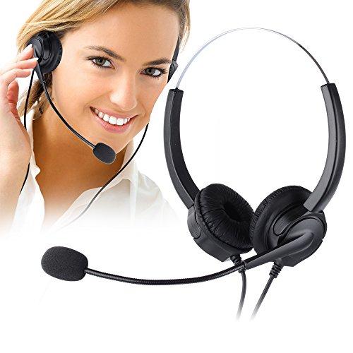 電話ヘッドセット、CiscoシリーズIP電話ヘッドフォン、PChero ハンズフリーコールセンターコード付きヘッドフォン、マイク付き固定電話用ヘッドセット、携帯や販売や保険や病院や通信事業者などのためのRJ9四つピンコネクタ付き電話対応ヘッドフォン「両耳」