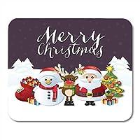 マウスパッド雪だるまのトナカイとサンタさんの雪に覆われたメリークリスマスの伝統的なキャラクターサンタのプレゼントの完全なノートブックデスクトップコンピューターに適したマウスマット