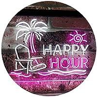 Happy Hour Relax Beach Sun Bar Dual LED看板 ネオンプレート サイン 標識 White & Purple 300mm x 200mm st6s32-i2558-wp