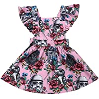 Toddler Baby Girls Dress Clothes Floral Star Wars Tutu&Sunflower Ruffled Sleeve Dresses Casual Sundress