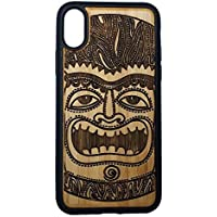 Tiki Idol phone Case Cover for iPhone X by iMakeTheCase   Eco-Friendly Bamboo Wood Cover + TPU Wrapped Edges   Maori Mythology First Man Face   Polynesian Culture Wooden Tiki Man. [並行輸入品]