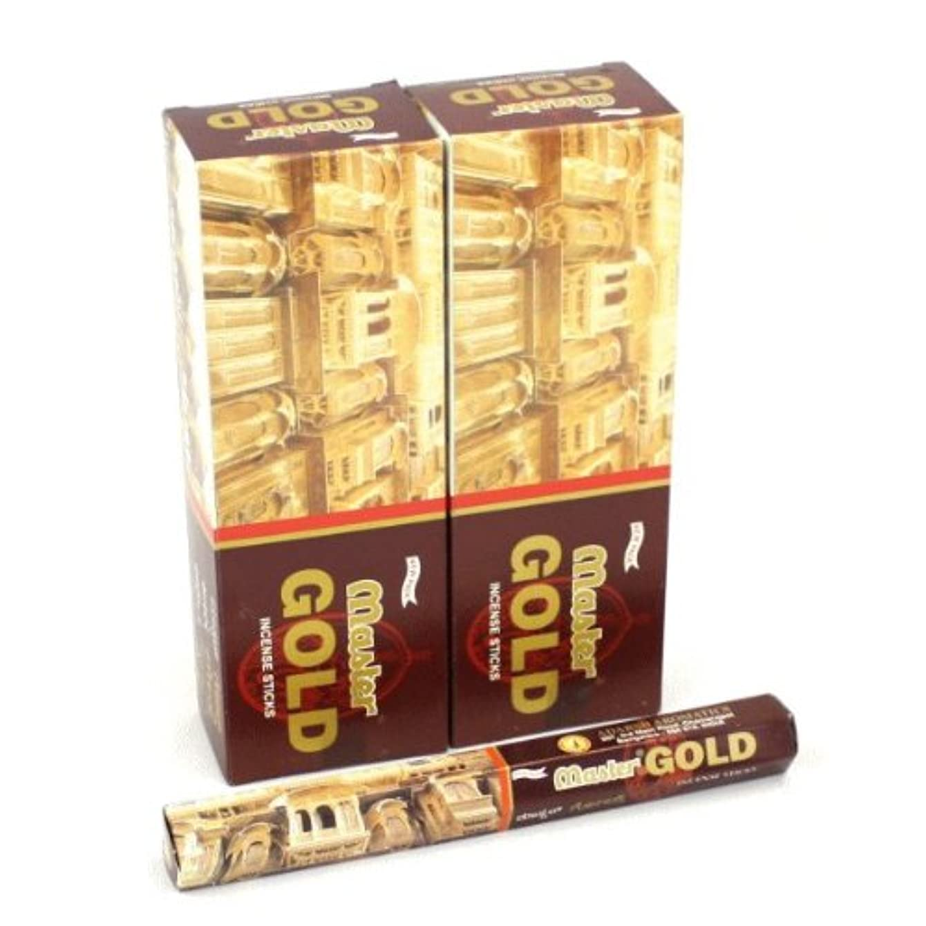 の脱臼する主要なADARSH マスターゴールド香 スティック ヘキサパック(六角) 12箱セット MASTER GOLD