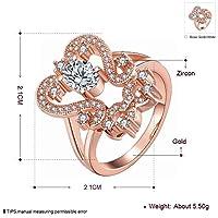 Fenglinzekang 女性の古典的なボールジルコンの銅の幾何学的な二重リングKゴールドジルコンの魅力の幾何学的なリングヨーロッパとアメリカの女性のリング (Color : Rose gold, サイズ : 7)
