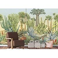 ヴィンテージサボテンの壁紙の壁画、防水壁画植物の絵画の壁紙、リビングルームの壁紙用ロール280 cm(W)x 180 cm(H)