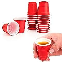 48 Red Solo Cups 2 fl oz Plastic Shot Glasses Mini Disposable Barware Glasses by ATB