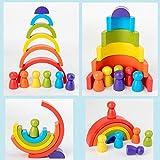 CHOUREN New Rainbow Wooden Baby Toys Montessori Creative Rainbow Building Blocks Wood Jenga Game Early Educational Toys for K