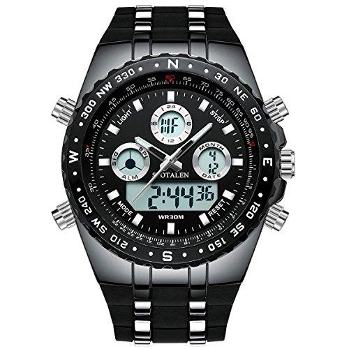 メンズポーツ大文字盤腕時計 軍用クォーツウォッチ ブラックシリコンバンド SPOTALEN