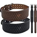 "RDX Weight Lifting Belt 4"" Cow Hide Leather Back Support Double Prong Gym Training Fitness Exercise Workout Crossfit Bodybuilding"