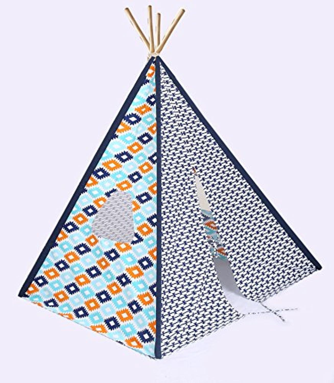 Bacati – Aztec Aqua / Orange / Navy Kid 's折りたたみ式Teepee再生テント4 Strongの竹極