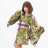 上品なお色の花魁系着物ドレスワンピース/肩出しOK!/浴衣/グリーン系/qc10