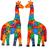 Toys of Wood Oxford Wooden Giraffe Alphabets and Numbers Jigsaw Puzzle 41 cm Large Size - Wooden Alphabet Blocks Educational Toys for 3 Year olds