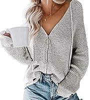 Keaac Women Hooded Sweaters Coats Knit Zipper Cardigans Gery S