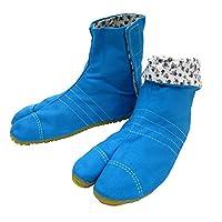 柄の裏地がお洒落なカラー足袋 ショート(ブルー・21.0cm)マジックテープ式 子供祭り足袋