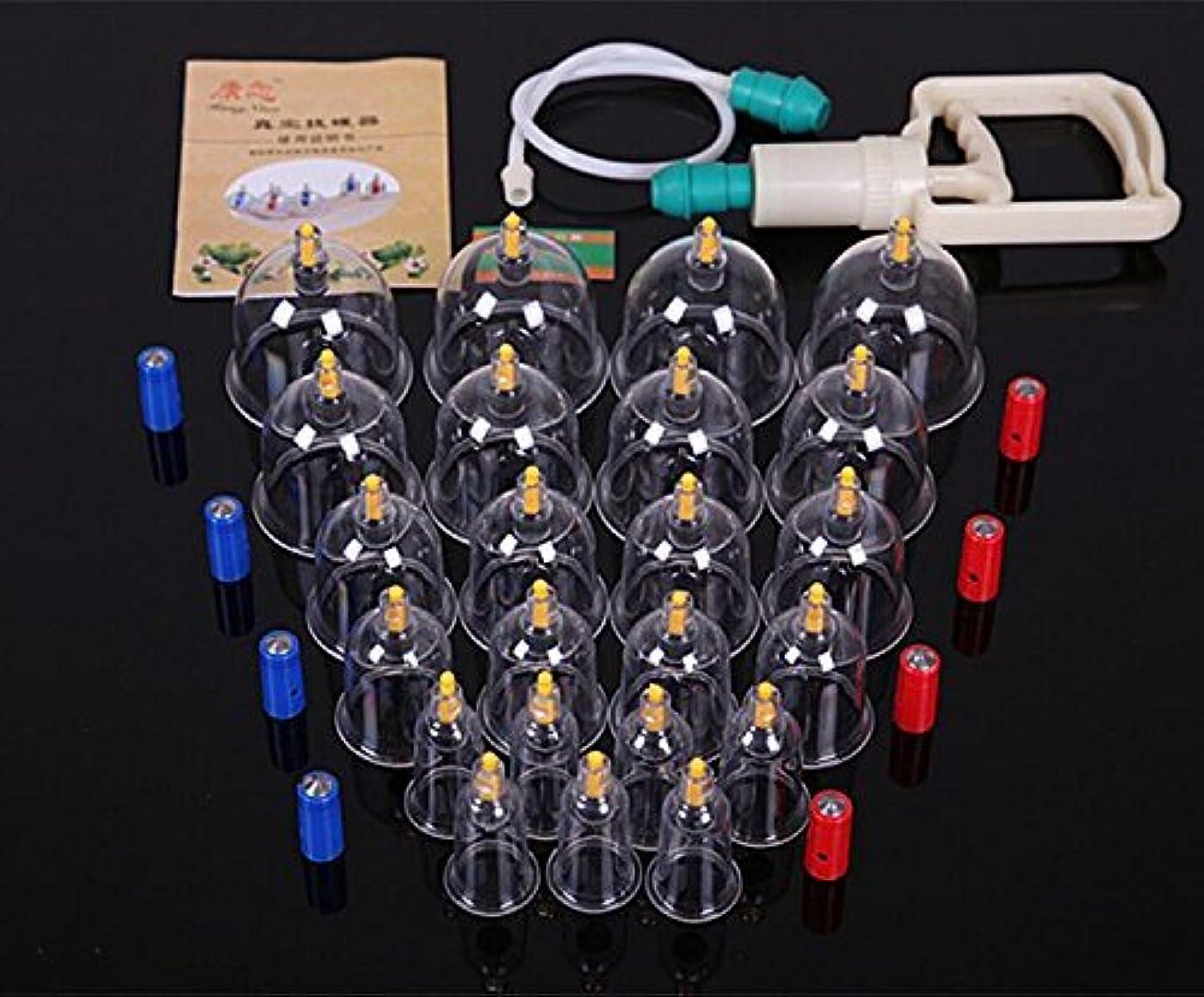 コーナー食品テスピアン中国のカッピング理学療法セット真空ポンプとその他の付属品を備えた24個のカッピンググラス、背中の痛みのための自然療法の自己マッサージ、セルライト、顔、slim身、腹部