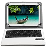 Bluetoothワイヤレスキーボード, キーボードケース,【ELTD】ipad pro 9.7/Teclast Tbook 10/Samsung Galaxy Tab A 10.1/huawei mediapad t2 10.0 pro/Qua tab 02 HWT31 10.1/Acer Iconia Tab10 A3-A40/ASUS ZenPad 10 2016ケース (9-10インチのタブレットも適用) 開閉で自動的 PUレザーケース マグネット着脱可能 一体型Bluetoothワイヤレスキーボード (9-10inch, ホワイト)