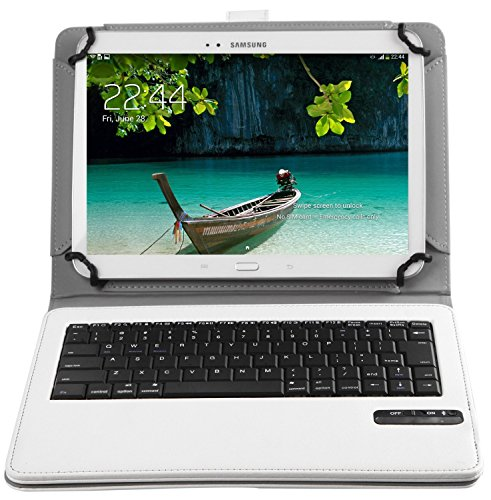 Bluetoothワイヤレスキーボード, キーボードケース,ELTDipad pro 9.7/Teclast Tbook 10/Samsung Galaxy Tab A 10.1/huawei mediapad t2 10.0 pro/Qua tab 02 HWT31 10.1/Acer Iconia Tab10 A3-A40/ASUS ZenPad 10 2016ケース (9-10インチのタブレットも適用) 開閉で自動的 PUレザーケース マグネット着脱可能 一体型Bluetoothワイヤレスキーボード (9-10inch, ホワイト)