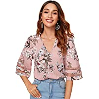 Floerns Women's Floral V Neck 3/4 Sleeve Bell Sleeve Loose Mesh Blouse Shirt Tops