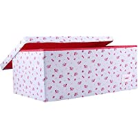 Minene Large Storage Box with Lid Blue with Red Flowers - star storage box, large fabric storage box - great for toy storage, kids storage by Minene