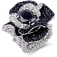 Lavencious Flower Shape CZ & Rhinestone Cocktail Stretch Ring Party Ring for Women