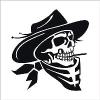 ステッカー 海賊 タバコ ドクロ 16cm 【左右セット】 黒 防水 屋外対応 車 ステッカー