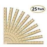 Onest 25パック木製定規学生定規木製学校定規測定ルーラーOfficeルーラー、2スケール、30cm、12インチ