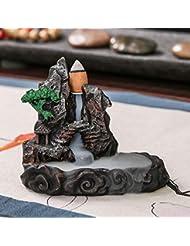 お香炉 流れるようなセラミック製煙山デザイン 香炉 香炉 タワーホルダー ホームインテリア ブラック 733153361444