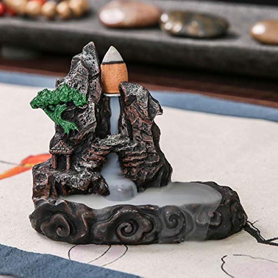 別れるのため暴露するお香炉 流れるようなセラミック製煙山デザイン 香炉 香炉 タワーホルダー ホームインテリア ブラック 733153361444