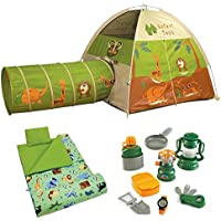 学習リソース、Pacific Play Tents Kidsジャングルサファリテント&トンネルコンボwith Wild Animals Sleepingバッグとキャンプ8点Playセット、子供の再生テントキャンプ、Set for Kids、アウトドア再生