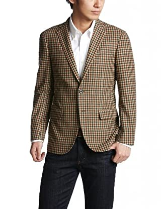 Blended Wool Check 2-button Jacket 3122-110-0316: Brown
