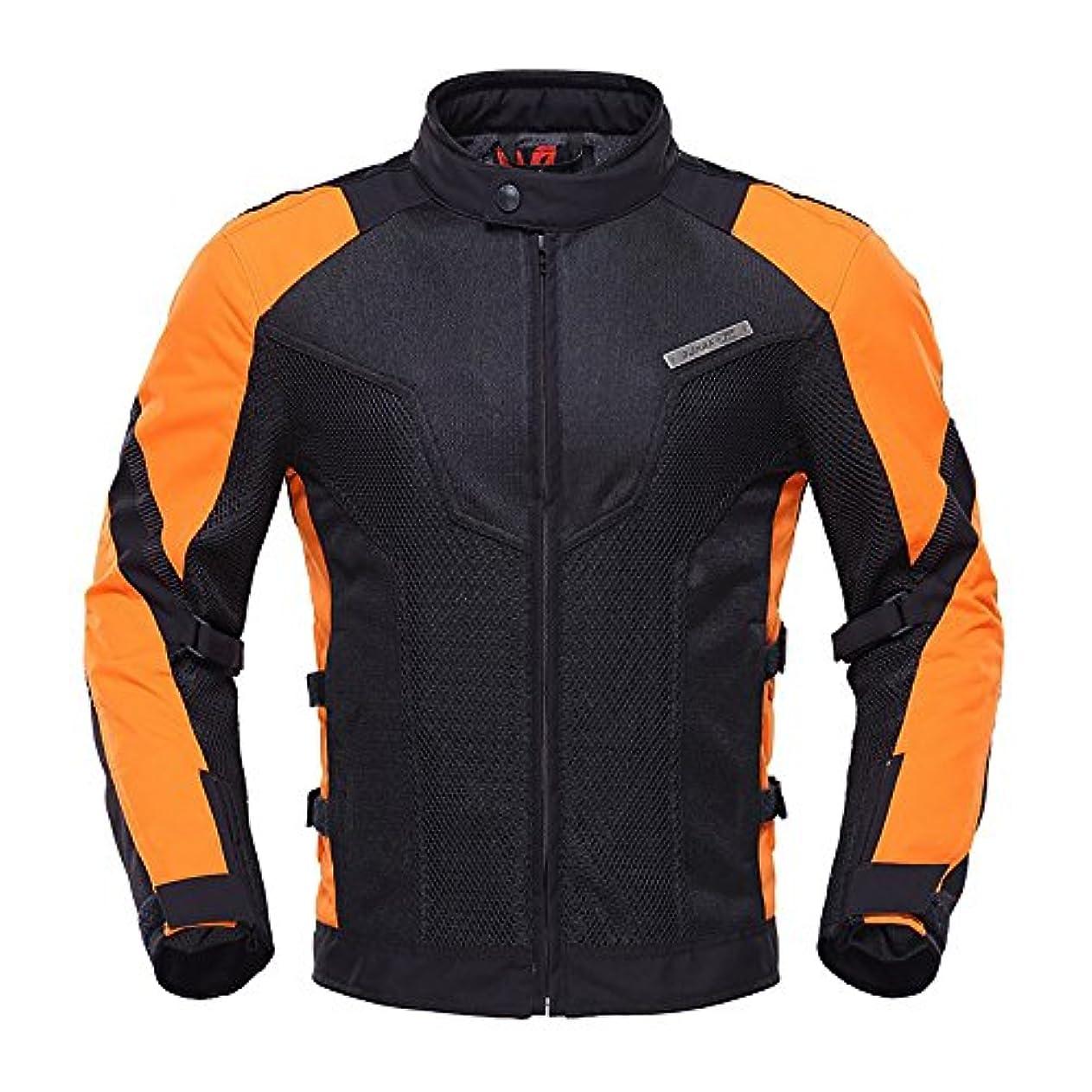 労働中世の安いですDUHAN D-183 メンズ バイク ジャケット ライダースジャケット バイク ウェア メッシュ 春 夏 秋 3シーズン プロテクター装備 (XL, オレンジ黒)