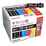 【Luna Life】 キヤノン用 互換インクカートリッジ BCI-7E+9/5MP 9ブラック1本付き 6本パック LN CA7E+9/5P 9BK+1