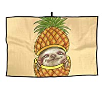 Breathable Microfiber Golf Towel Funny Pineapple Sloth Fast Drying Sport Towel - for Yoga, Sport, Running, Gym, Workout,Camping, Fitness, Workout & More Activities