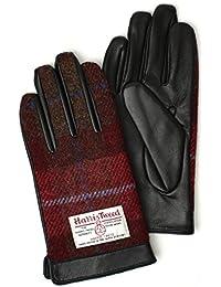 (トライバル)TRIBAL ハリスツイード メンズ ツイードとレザーが上品にマッチ 牛革レザースマホ手袋