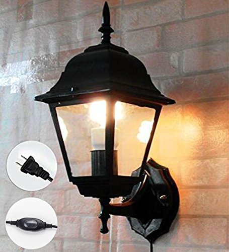 STGLED ブラケットライト 玄関灯 防水 レトロ風 ポーチライト 壁掛け照明 LED対応 E26 110V ウォールランプ アンティーク 北欧 おしゃれ 屋外 室内照明 1灯 ブラック コンセント式 ON/OFFスイッチ付き