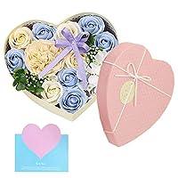 バラ型ソープフラワー 創意ハート型ギフトボックス 石鹸花束 誕生日 母の日 記念日 先生の日 バレンタインデー 昇進 転居など最適としてのプレゼント (青-H)