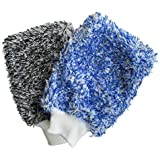 BTXXYJP ソフト 吸収 手袋 高密度 洗車 超ソフト 簡単 乾燥 1ペア (Color : Blue)