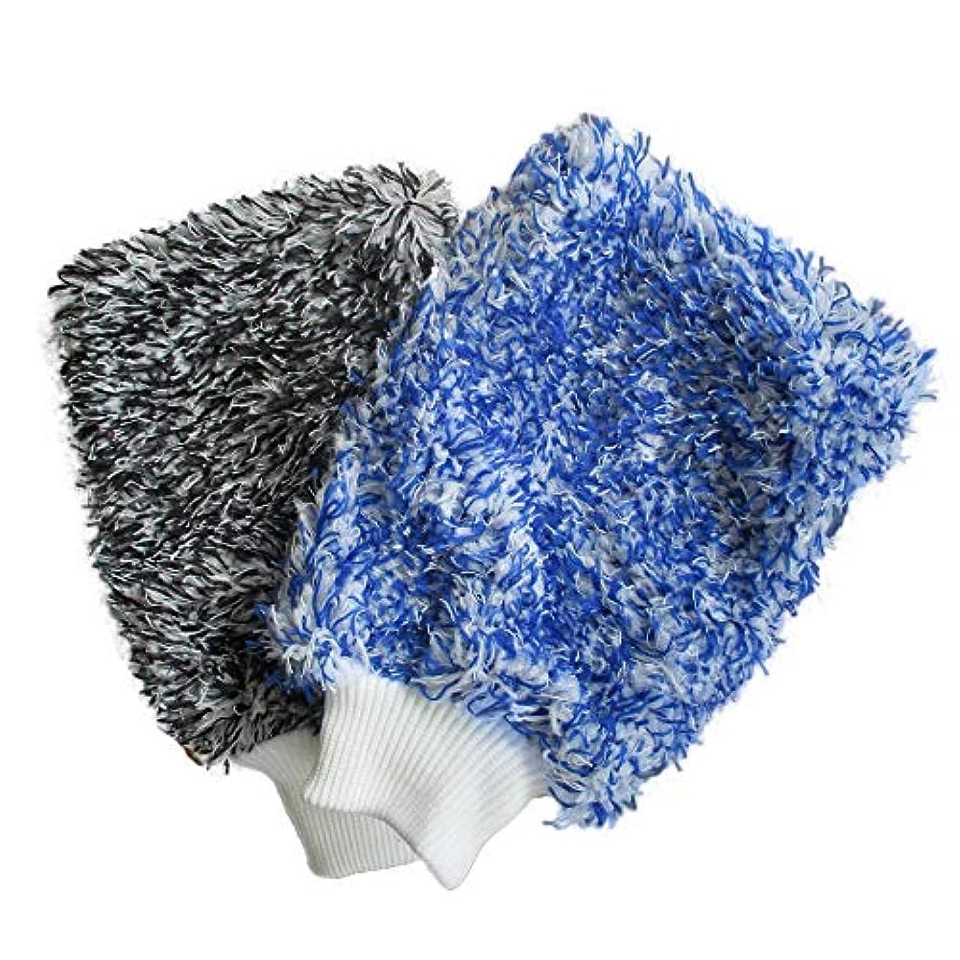 パースブラックボロウ楽しい適性BTXXYJP ソフト 吸収 手袋 高密度 洗車 超ソフト 簡単 乾燥 1ペア (Color : Blue)