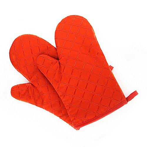断熱オーブンミトン 300℃耐熱 手袋 左右セット安全 火傷 防止 軽量 台所 便利 キッチン 鍋つかみフライパン バーベキュー用 綿製 柔らかいフリーサイズ 2個セット オレンジ