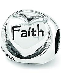 スターリングシルバー反射Faith Hope Love Trilogy Bead