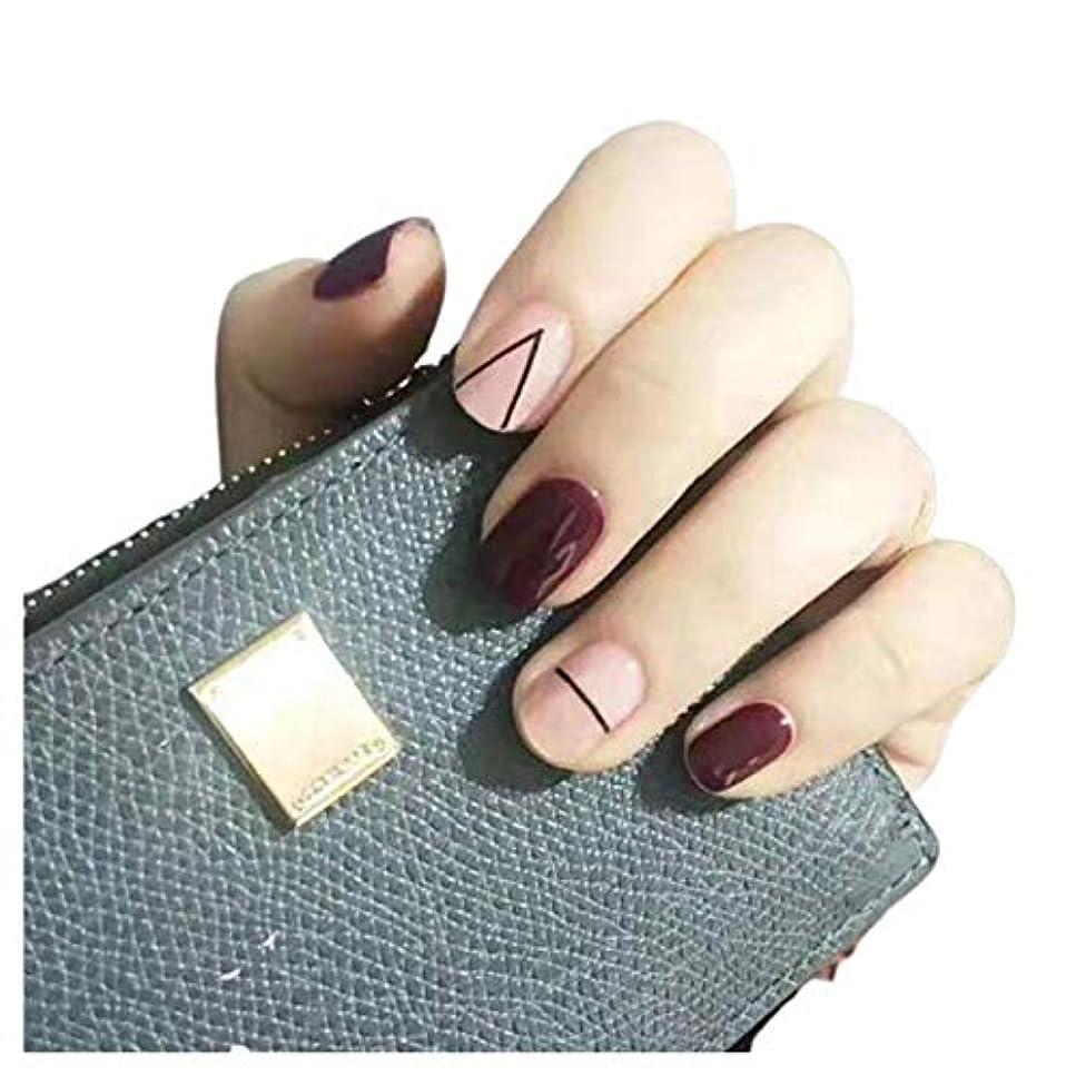 NANNAN ネイルチップ ネイルチップ 手作りネイルチップ ネイルジュエリー つけ爪 24枚入 フルチップ シンプル 結婚式、パーティー、二次会などに ネイルアート 赤