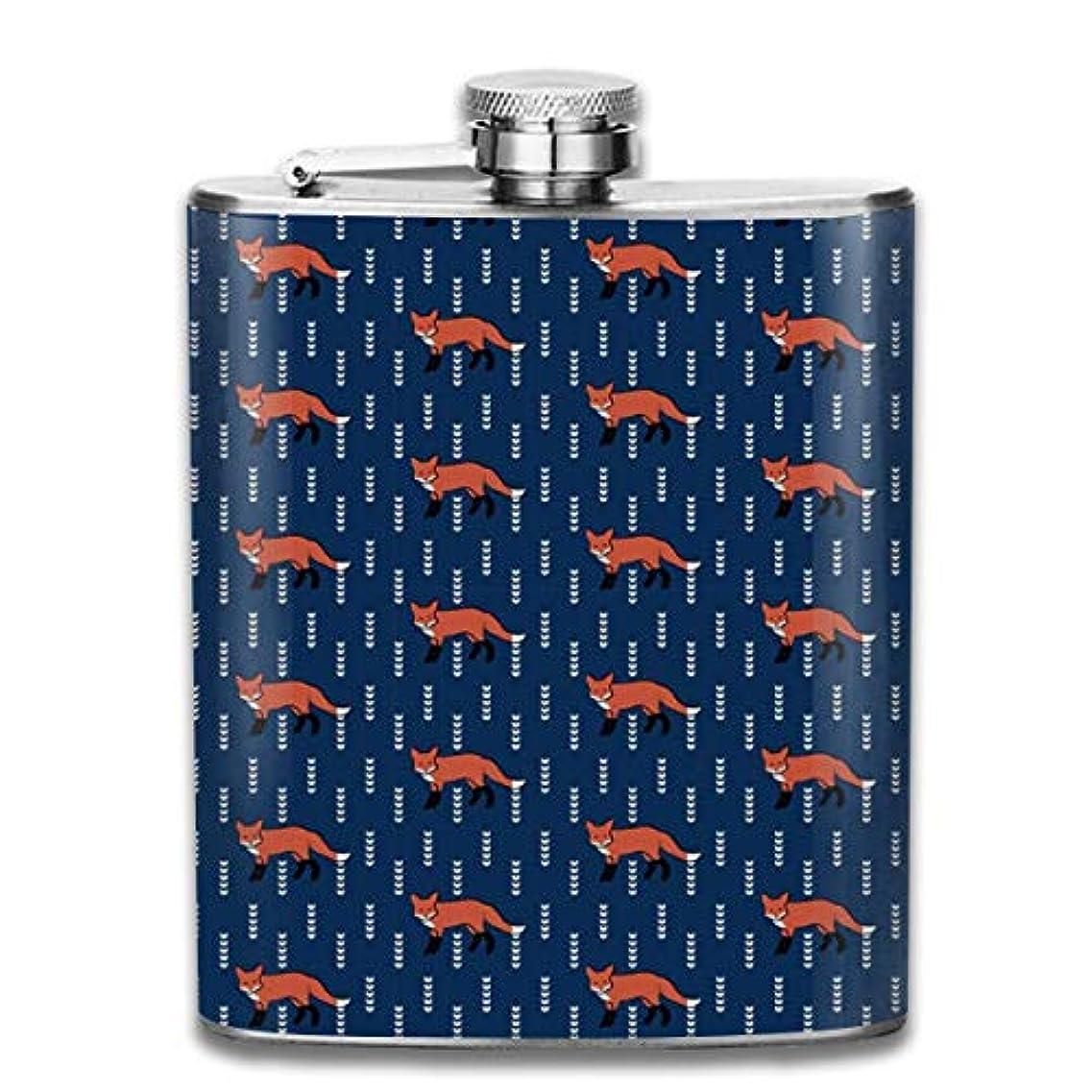 出発政令カードかわいい狐 フラスコ スキットル ヒップフラスコ 7オンス 206ml 高品質ステンレス製 ウイスキー アルコール 清酒 携帯 ボトル
