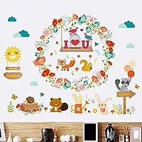 クリエイティブ漫画動物鳥籠フラワーリースハッピーフォレストガールボーイ子供部屋リビングルームの装飾pvc防水ウォールステッカーdiy壁画アップリケ